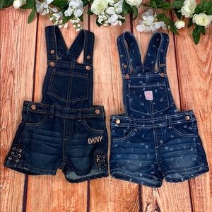🆕 Lot of Two Girl's DKNY Denim Overall Outfits
